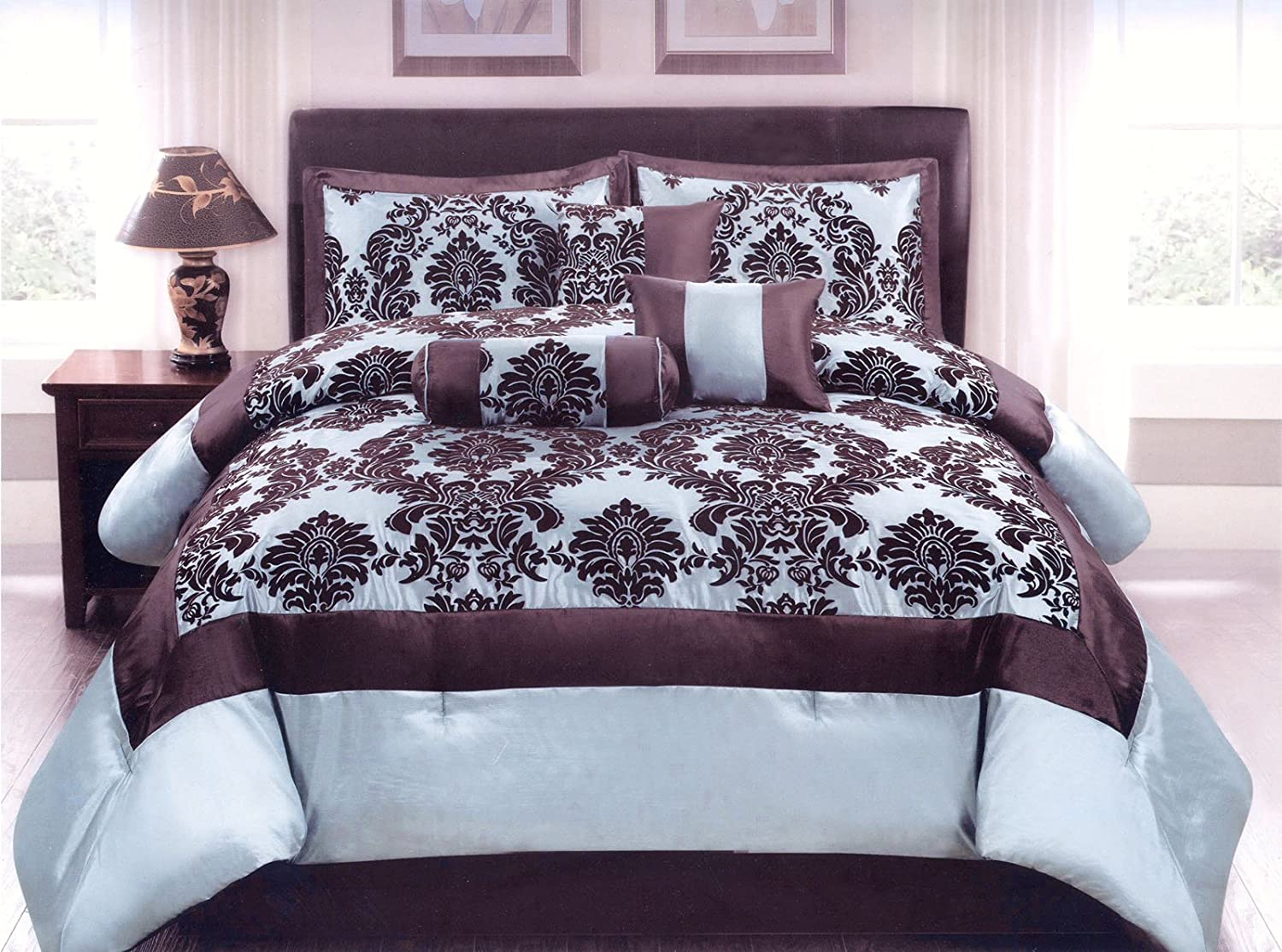 Jaba USA 7-Piece Queen Size Flocking Floral Comforter Set Bed-In-A-Bag Light Blue, Brown at Sears.com