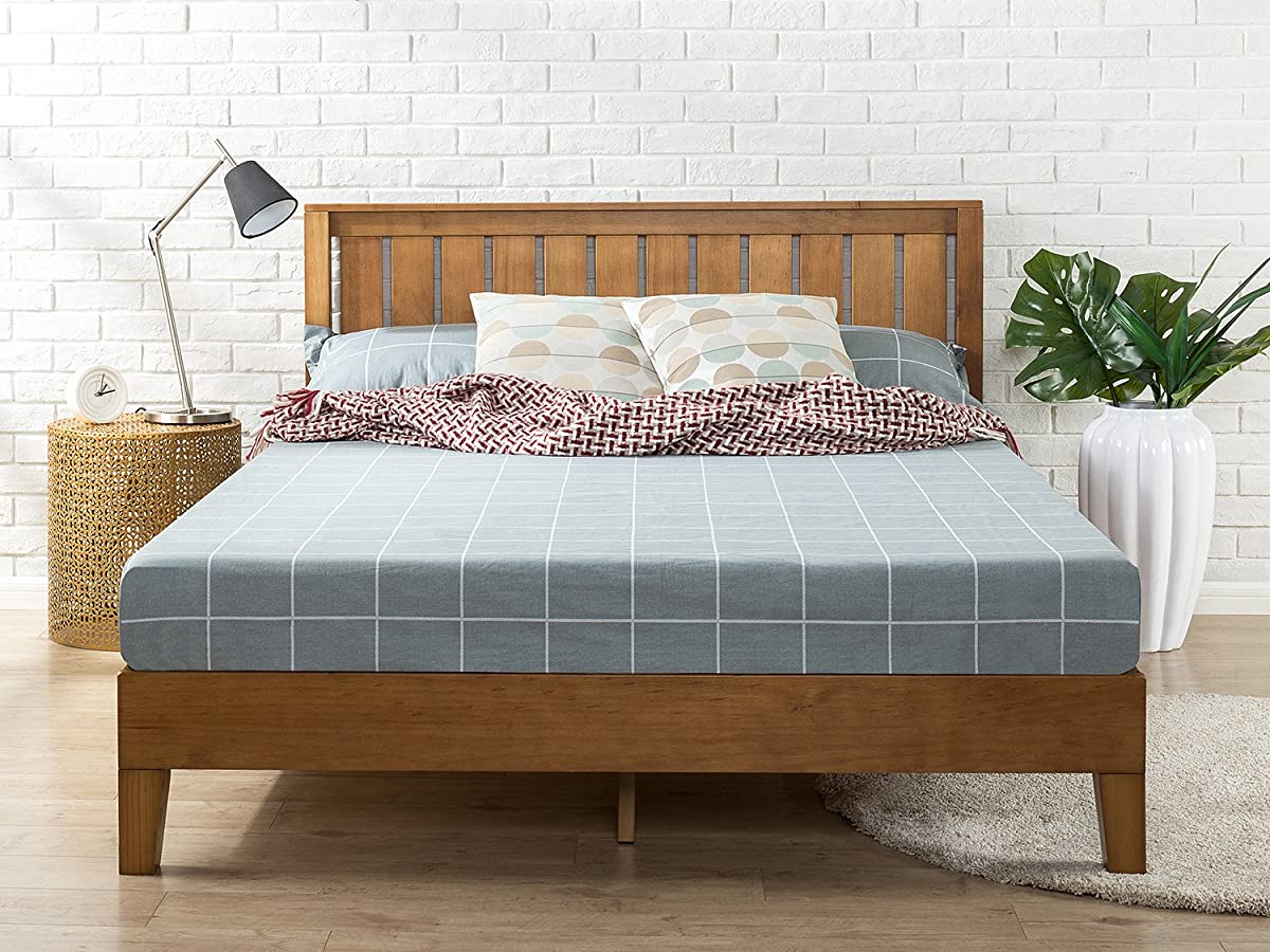Zinus 12 Inch Deluxe Wood Platform Bed with Headboard / No Box Spring Needed / Wood Slat Support / Rustic Pine Finish, Full