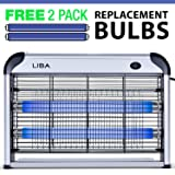 LiBa Bug Zapper & Electric Indoor Insect Killer Mosquito, Bug, Fly & Other Pests Killer – Powerful 2800V Grid 20W Bulbs – 2-Pack Replacement Bulbs Included (Color: Only)