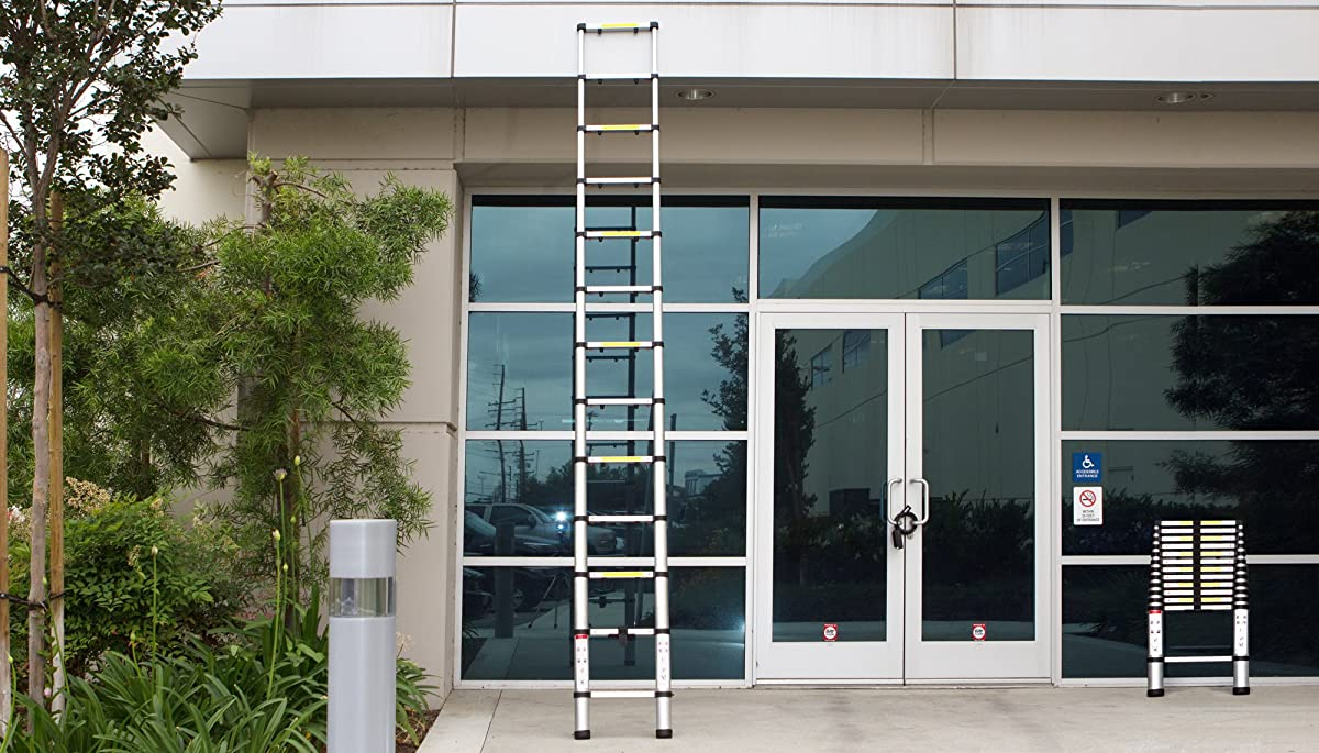 OxGord Aluminum Telescopic 12.5 Feet Heavy Duty Extendable Work, Light Weight Multi-Purpose Ladder - Max 330 lbs. Capacity