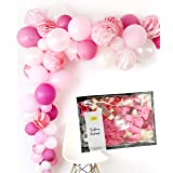 Pink Balloon Garland Agate Marble 16 feet Girl Party Decoration Kit, 120pc Balloons, Tape, Glue, String, Instruction Birthday, Baby Shower, 1st Princess Party by TOKYO SATURDAY (Strawberry) (Color: Garland Strawberry Pink)