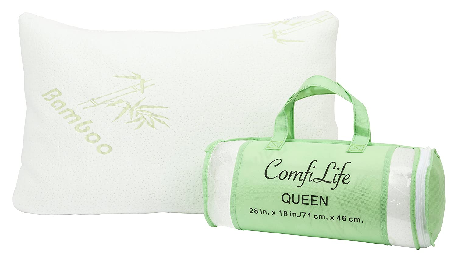 ComfiLife Premium Bamboo Pillow with Shredded Memory Foam. Hotel Comfort with Stay Cool Technology, Hypoallergenic, Perfect Firmness for Side Sleeper, Stomach Sleeper and Back Sleeper - QUEEN