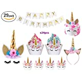 Bestus (29 pack) Unicorn Cake Topper with Eyelashes, Headband, Cupcake Wrappers and Happy Birthday Banner./Unicorn Party Supplies,for Birthday Party, Baby Shower, Kids Party Decoration (Color: gold)