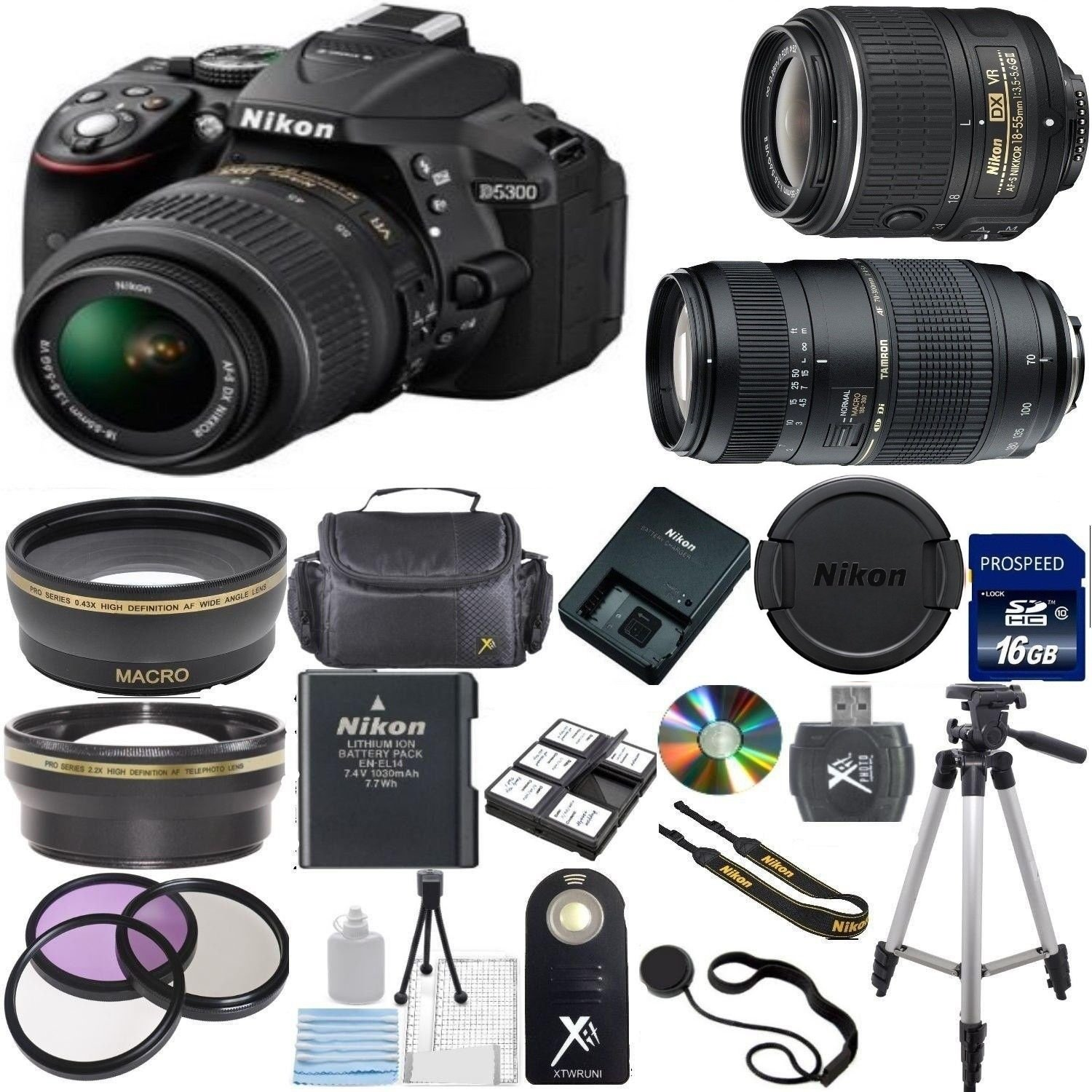 Nikon D5300 24.2 MP CMOS Digital SLR with 18-55mm f/3.5-5.6 AF-S DX VR NIKKOR Zoom Lens (Black) + Tamron 70-300mm Zoom Lens  ..