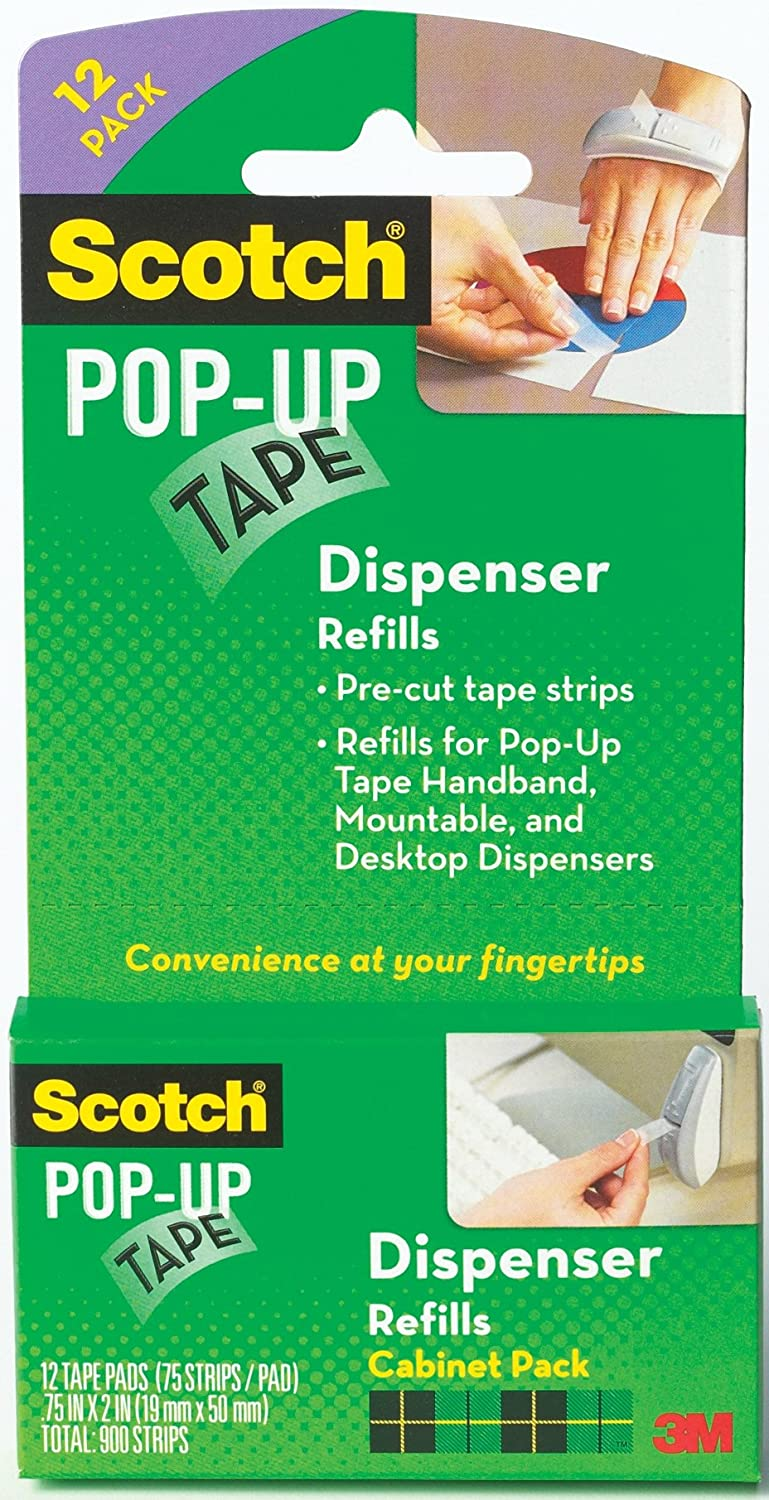 Scotch Pop-Up Tape Strips, 3/4 x 2 Inches, 12 Pads, 75 Strips/Pad (90M-12PK)