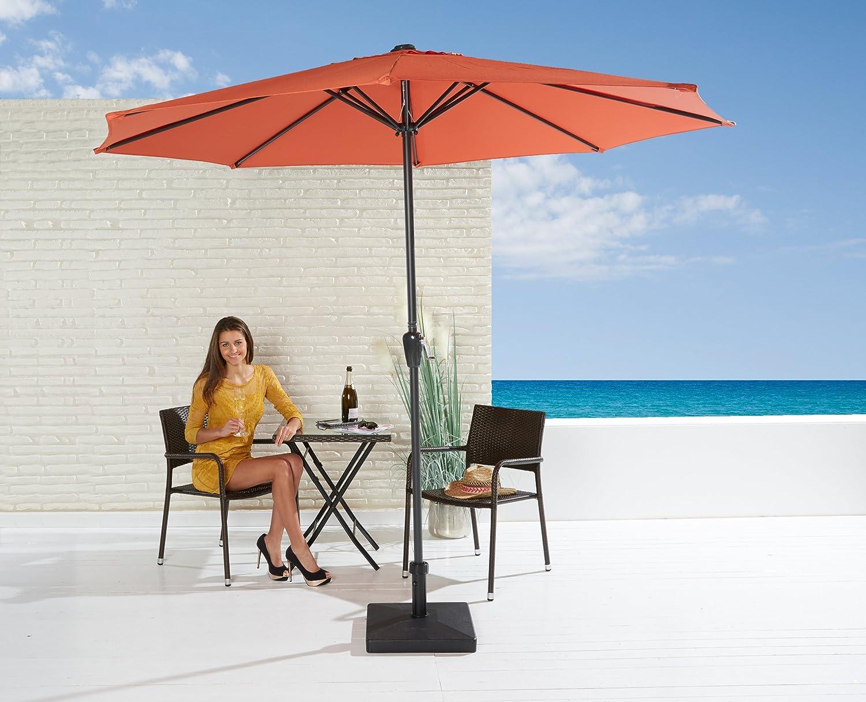 Sonnenschirm Set in orange mit Kurbel zum zusammenrollen und Schirmfuß
