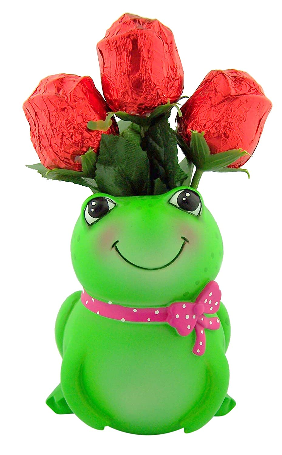 Hard to Find Mother's Day Unique Gift Idea (3) Long Stem Hollow Chocolate Rose Bouquet in Hand Painted Smilling Green Frog Shape 4 3/4″ H Resin Pottery Vase