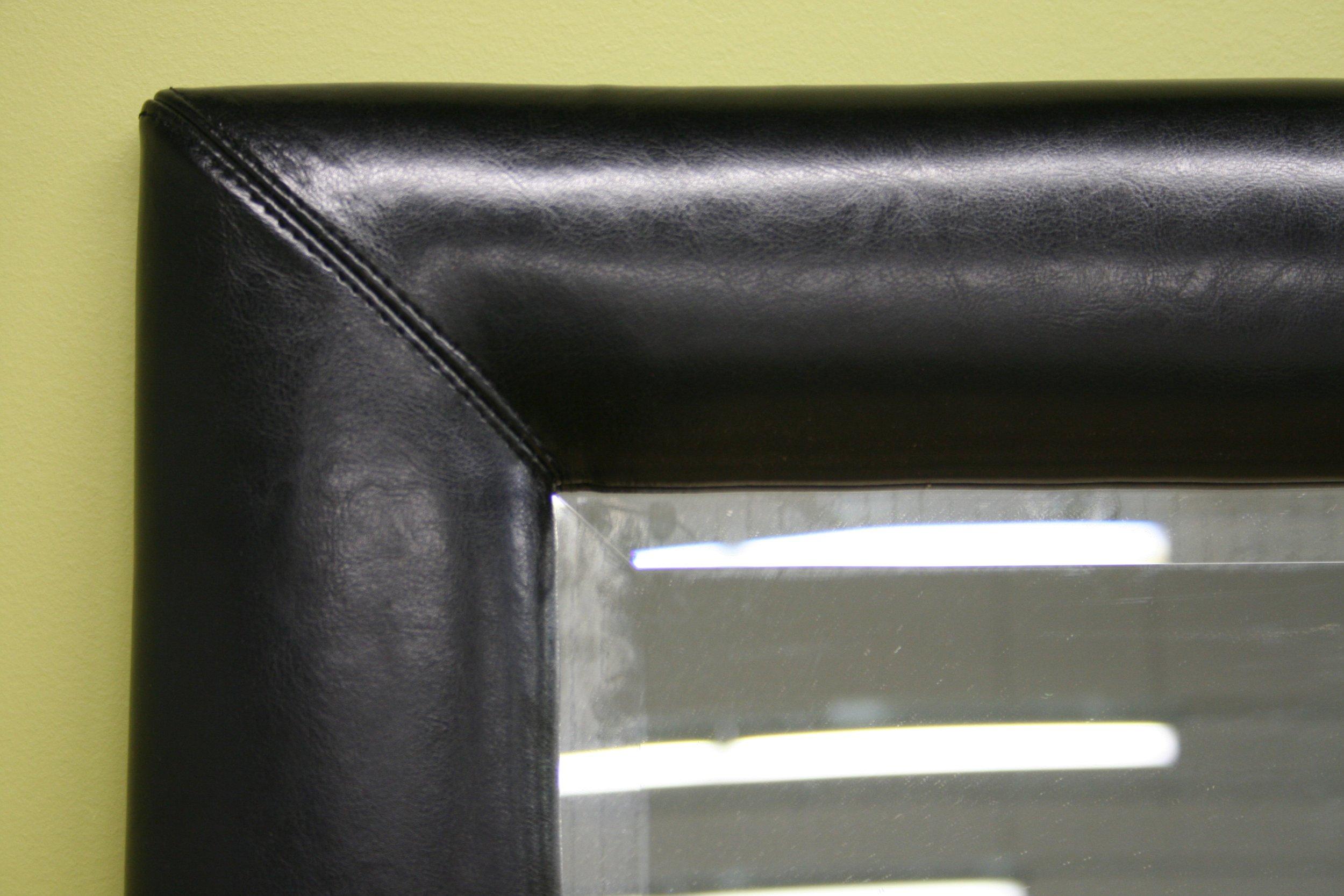 ... Floor Mirror with Bycast Leather Frame, Black - FurnitureNdecor.com