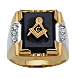 Men's Genuine Black Onyx and Crystal Two-Tone Masonic Ring 14k Gold-Plated Size 12 (Color: Black)