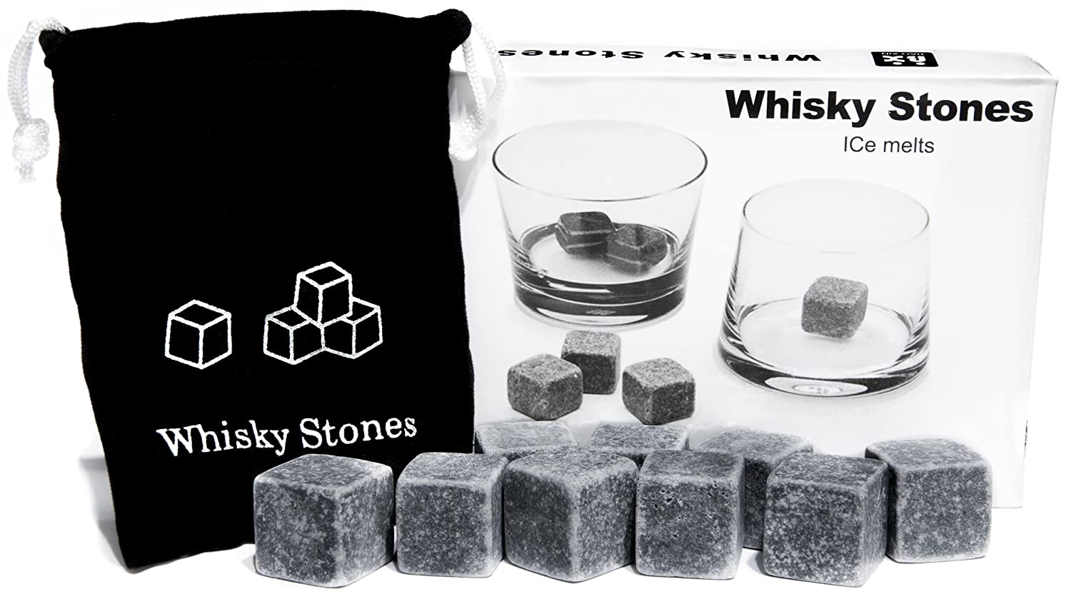 Whisky Stones Set of 9 Rounded Soapstone and Bag