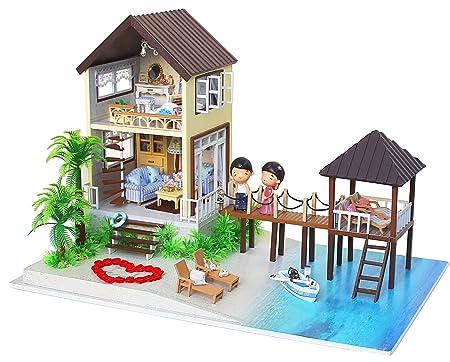 DIY Maison de Poupée en Bois Fait Main miniature Kit Maldives Villa modèle & Meubles/Boîte à musique