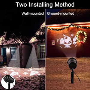 Christmas Laser Lights Projector, 3D Rotating Christmas Projector Lights with Christmas Trees/Santa Claus/Stars/Snowflake/Snowman Pattern, Waterproof with Remote for Outdoor Christmas Decoration (Color: Christmas Projector)