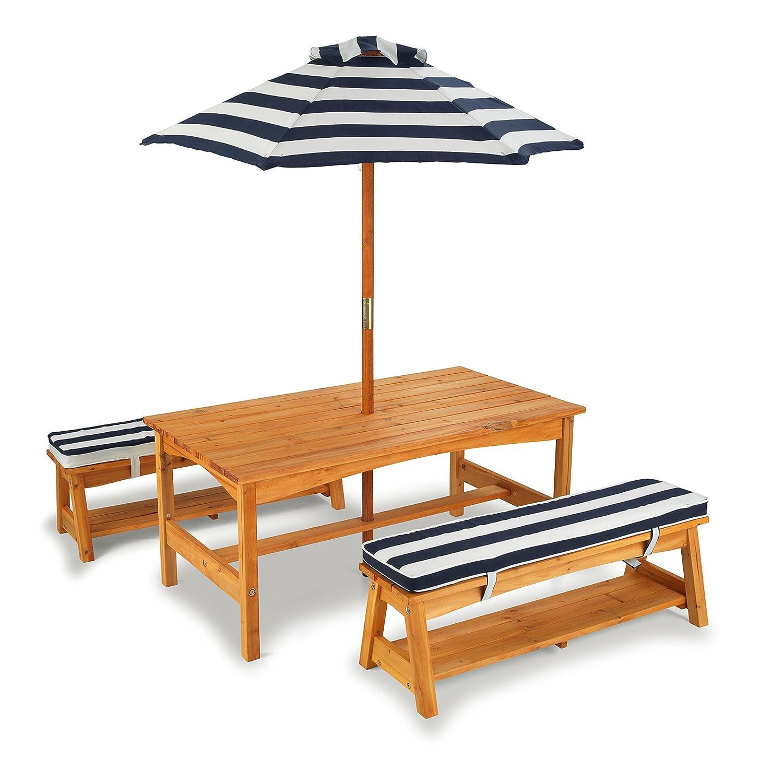 KidKraft 106 - Gartentisch und Bänke mit Sitzkissen/Sonnenschirm