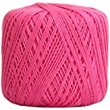 Threadart 100% Pure Cotton Crochet Thread - SIZE 3 - Color 35 - HOT PINK -2 sizes 27 colors available (Color: HOT PINK, Tamaño: SIZE 3 SINGLE)