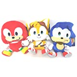 TOMY Sonic the Hedgehog, Tails and Knuckles Plush, Happy Sonic 3 Plush 9 inches