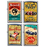 Zippo Old School 1940's Race Club 4 Lighter Set Vintage Poster Street Chrome
