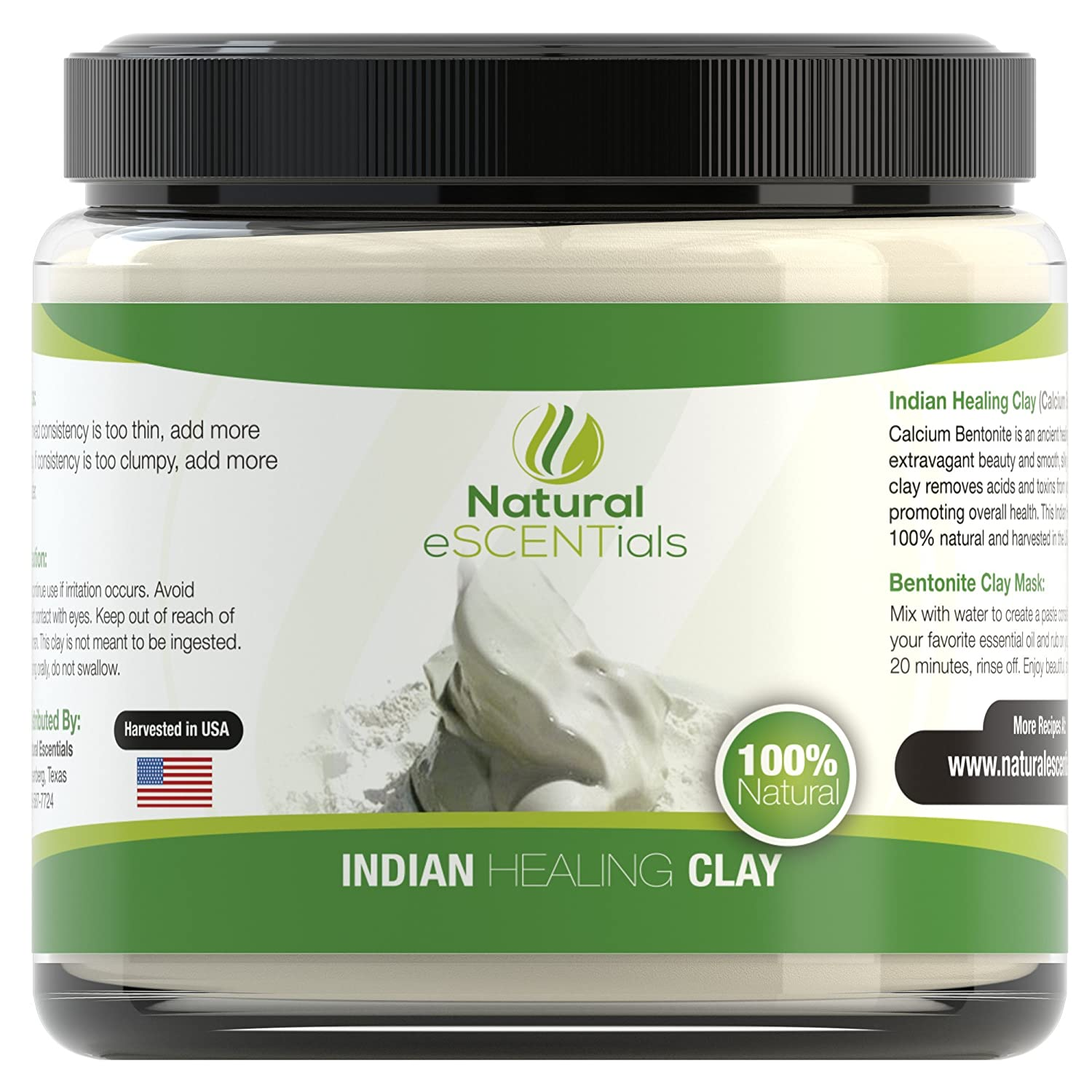 Indian Healing Clay ? HIGH QUALITY ? Pure 100% Calcium Bentonite - Finely Milled 325 Powder - Perfect for Spa Quality Masks and Scrubs - Fights Acne, Psoriasis, Oily Skin, and Skin Blemishes - Revitalizes and Promotes Natural, Healthy Skin - Psoriasis No Risk Satisfaction Guarantee (1lb)
