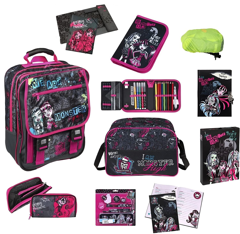 Monster High großes Schulrucksack MEGA Set 10-tlg. MHCP8300 mit Federmappe gefüllt, Sporttasche uvm. günstig online kaufen
