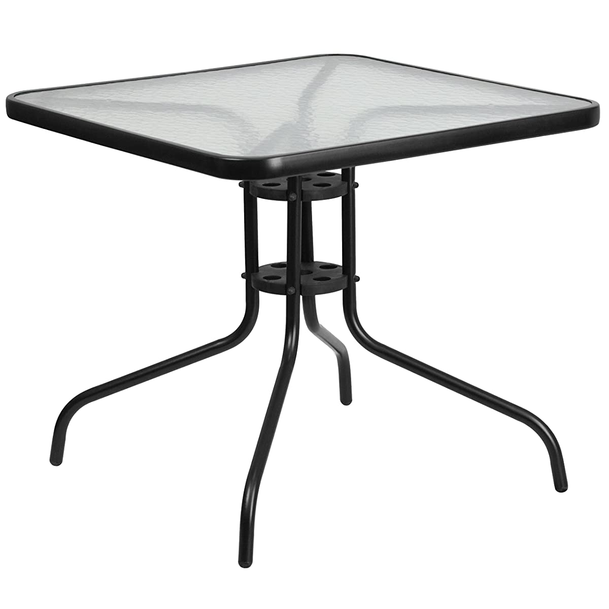 Flash Furniture 31.5 Square Tempered Glass Metal Table