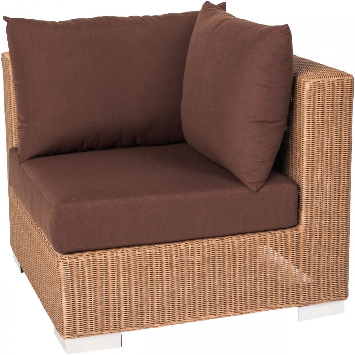 Dreams4Home Eckelement 'Marlo' – Sitz, Sofa, Stuhl, Eckelement, Terrassenmöbel, Loungemöbel, Cocktailmöbel, B/H/T: 78 x 65 x 78 cm, Gartenmöbel inklusive Kissen, Rattan, Aluminiumgestell, in braun jetzt bestellen