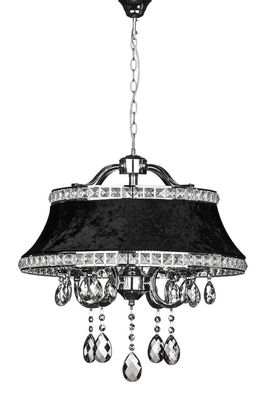Premier Housewares mit kleiner Edison-Schraube, E14, 40 W Pendelleuchte, Krystle mit schwarzem Lampenschirm, Chrom/Kristall