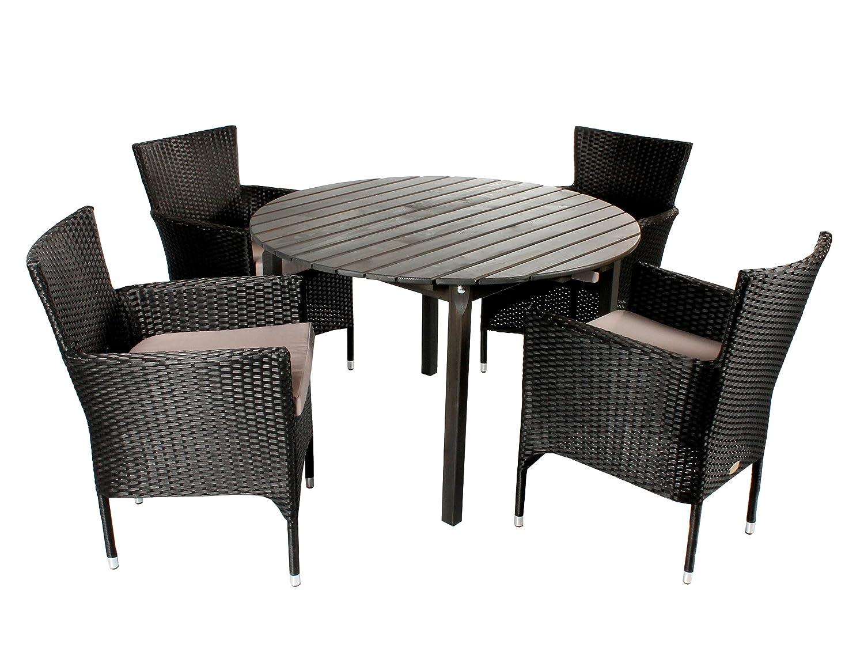 5tlg. Polyrattan Holz Sitzgruppe Siena, Stapel-Sessel und Tisch rund ca. 114 cm Ø Taupegrau, Sessel schwarz und NICHT ZERLEGT! günstig kaufen