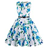 50s Sleeveless Vintage Swing Rockabilly Retro Summer Party Dresses for Girls 15-16yrs K250-3 (Color: K250-3, Tamaño: 15-16 Years)