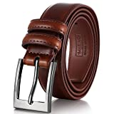 Marino's Men Genuine Leather Dress Belt with Single Prong Buckle - Burnt Umber - 36
