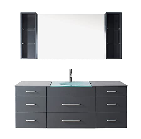 Virtu USA UM-3089-G-GR Modern 63-Inch Single Sink Bathroom Vanity Set with Polished Chrome Faucet, Grey
