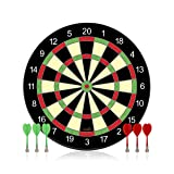 Funsparks Magnetic Dart Board Game - Full Set with 3 Green and 3 Red Darts in Cardboard Box
