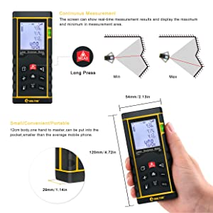 BOLTHO Laser Measure 262Ft/80M/In/Ft Laser Distance Meter with Bubble Level, Portable High Precision and Backlight LCD Display, Measure Distance, Area and Volume, Pythagorean Mode Battery Included (Color: Black&Yellow, Tamaño: 262FT / 80M)