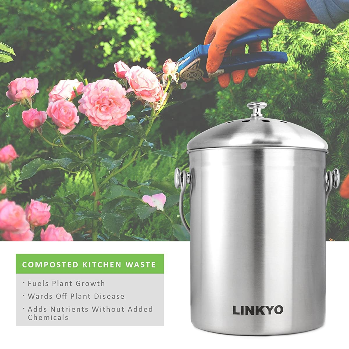 LINKYO Compost Bin - 4 Filters Stainless Steel Kitchen Composter (1 Gallon)