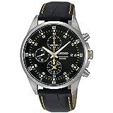 Seiko - SNDC89P2 - Men's Watch - Quartz Chronograph - Black Dial - Black Leather Strap (Color: black)