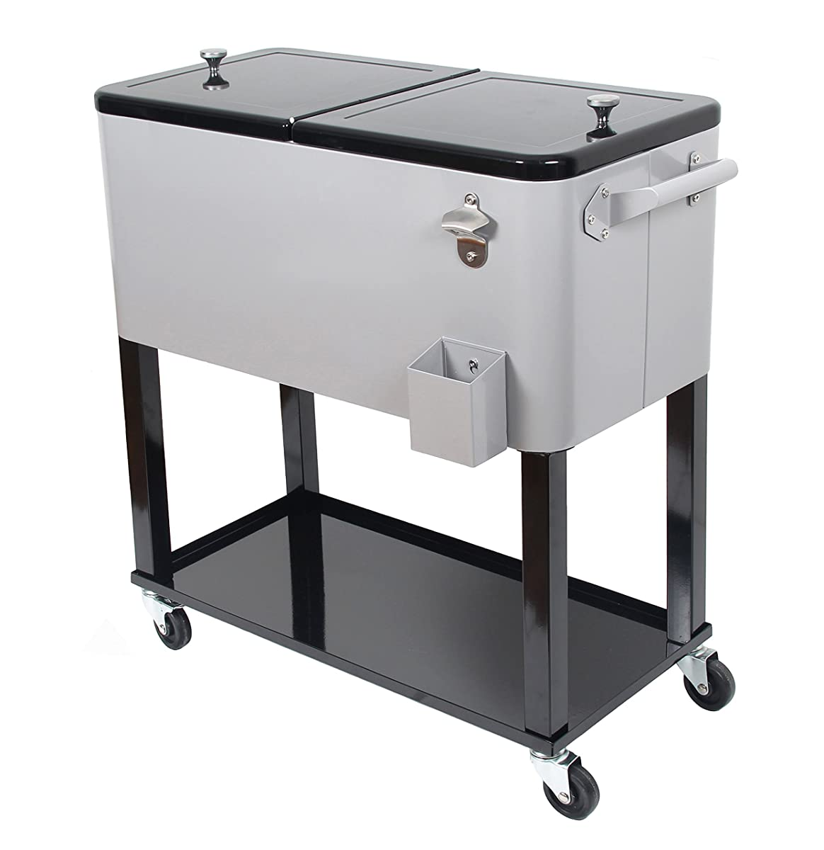 UPHA 80 Quart Rolling Ice Chest Portable Party Bar Drink Entertaining Outdoor Patio Cooler Cart on Wheels with Shelf,Silvery