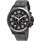 TW Steel Pilot Watch - Stainless Steel Plated Titanium Watch - Grey Dial Date 24-hour TW Steel Watch Mens - Grey Leather Band 48mm Chronograph Watch TW423 (Color: Grey)