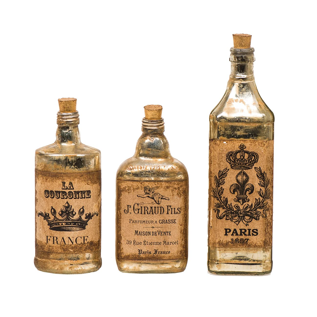 FABULIV Edwin Vintage Style Glass Decorative Bottles (Set of 3), Antique Gold 1