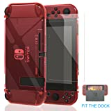 Nintendo Switch Case, Fit the Dock Station, Meneea Protective Accessories Cover case for Nintendo Switch - Dockable with a Tempered Glass Screen Protector, Crystal Clear Red (Color: Red)
