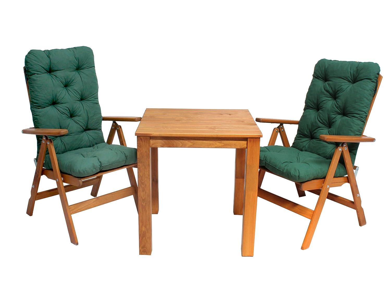 Ambientehome 90530 Balkonset Bistroset verstellbarer Klappstuhl Hochlehner Stranda braun inkl. Kissen grün stabiler 67×67 cm Tisch 5-teiliges Set jetzt kaufen