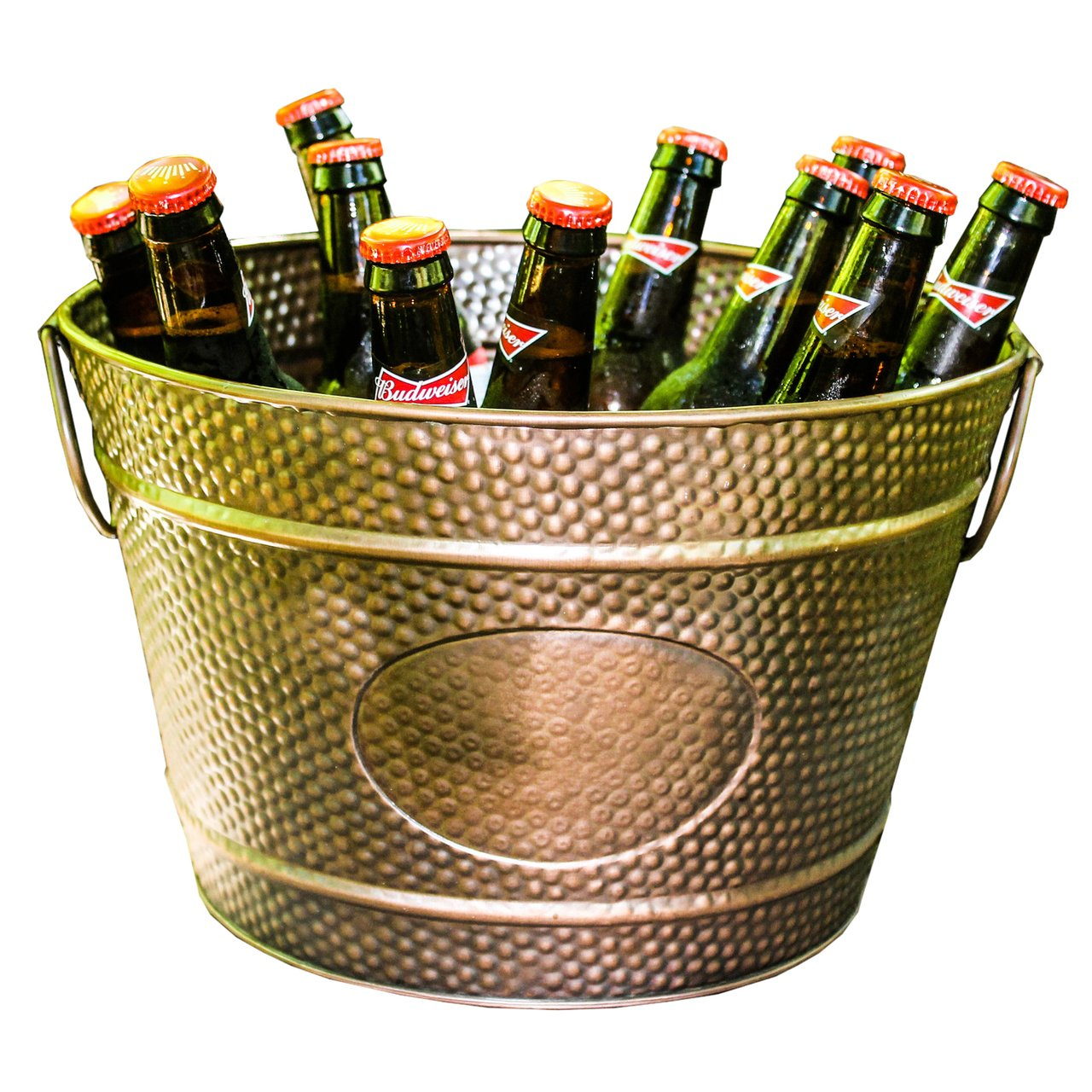 BREKX Hillcrest Bronze Pebbled Galvanized Beverage Tub Wine Bucket & Planter, Medium 0