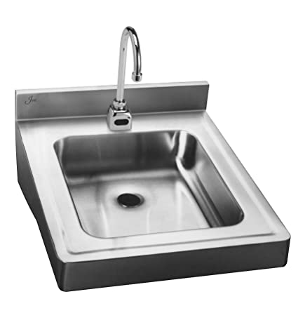 Just HCL-23520-S ADA Compliant Wheelchair Accessible 18ga T-304 Stainless Steel Sensor Operated Lavatory Sink with Integral Backsplash and Apron