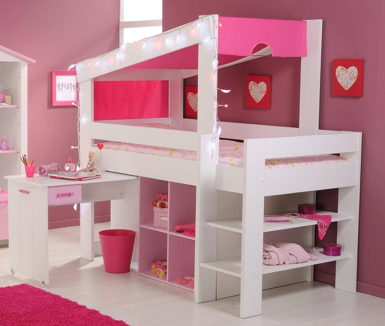 Mädchen Kinderzimmer-Hochbett 90×200 mit Schreibtisch Weiss Pink Parisot günstig