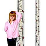 Growth Chart Art | Wooden Birch Tree Growth Chart for Kids [Boys AND Girls] - Kids Room Décor Height Chart in 3x Fun Designs - Durable, Portable Birch Tree Décor (Fall Leaf Single) (Color: Fall Leaf Single, Tamaño: Single birch green leaf)