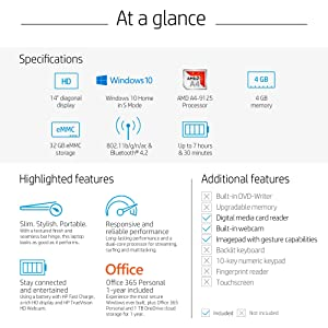 HP 14-inch Laptop, AMD A4-9125 Processor, 4 GB SDRAM, 32 GB eMMC, Windows 10 Home in S Mode (14-cm0041nr, Jet Black)