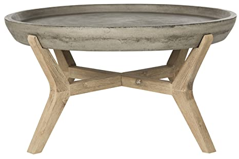 Safavieh EVN1013A Galloway Table Basse Pierre Gris Foncé 84 x 84 x 45,97 cm