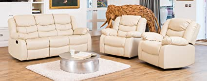 Windermere Luxury Leather Recliner Sofa Suite - Different Configurations and 3 Colours Available (Cream, 3+1+1 Seat Sofa Suite)