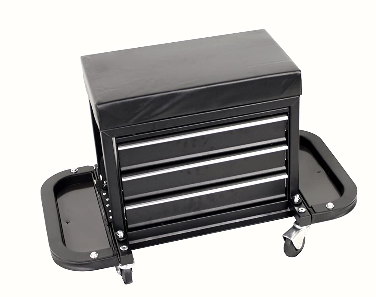 MaxWorks MW-0206 3-Drawer Rolling Tool Chest Seat (With Magnetic Side Trays),1 Pack