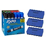 EXPO Low Odor Dry Erase Markers, Chisel Tip, Assorted, 36 Count | 3 Magnetic Whiteboard Erasers (Color: Assorted Colors, Tamaño: 36 Assorted+ Eraser)