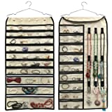 brotrade Hanging Jewelry Organizer,Double Sided 56 Pockets&9 Hooks Accessories Organizer for Holding Jewelry(Beige-56 Pockets)