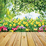 LYWYGG 10x10FT Spring Scenic Backdrop Sweet Flowers Photography Background Floral Blossoms Garden Florets Park Trees Kid Baby Portrait Photo Shoot Studio Props Video Wallpaper CP-170 (Color: SPRING-170, Tamaño: 10x10FT)