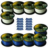 Harmony Audio Primary Single Conductor 18 Gauge Power or Ground Wire - 10 Rolls - 1000 Feet - White & Blue for Car Audio/Trailer/Model Train/Remote